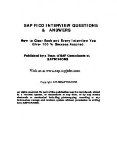 SAP FICO INTERVIEW QUESTIONS & ANSWERS Visit us at www ...