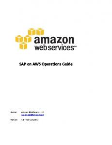 SAP on AWS Operations Guide