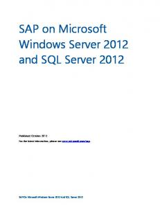 SAP on Microsoft Windows Server 2012 and SQL Server 2012