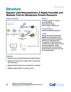 Saposin Lipid Nanoparticles: A Highly Versatile and ... - Cell Press
