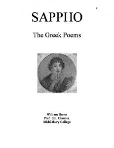 SAPPHO : The Greek Poems - Community Middlebury