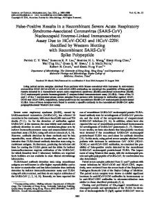 SARS-CoV - Journal of Clinical Microbiology - American Society for ...