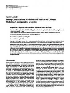 Sasang Constitutional Medicine and Traditional Chinese Medicine: A ...