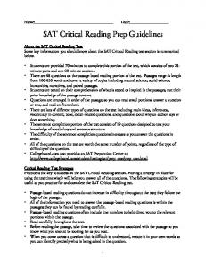 SAT Critical Reading Prep Guidelines