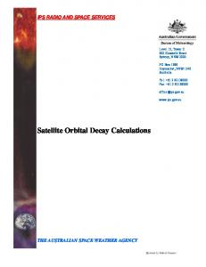 Satellite Orbital Decay Calculations - IPS - Radio and Space Services