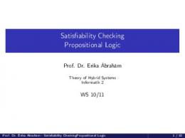Satisfiability Checking Propositional Logic