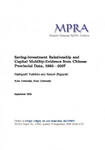 Saving-Investment Relationship and Capital Mobility:Evidence from