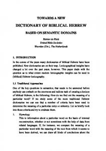 SBL 2000 - Semantic Dictionary of Biblical Hebrew