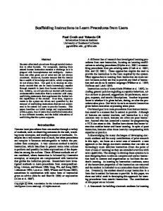 Scaffolding Instructions to Learn Procedures from ... - Semantic Scholar