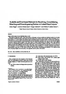Scalable and Distributed Methods for Resolving ... - CiteSeerX