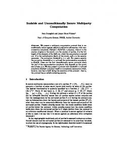 Scalable and Unconditionally Secure Multiparty ... - Semantic Scholar