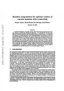 Scalable computation for optimal control of cascade systems with ...