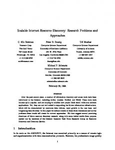 Scalable Internet Resource Discovery: Research ... - CiteSeerX