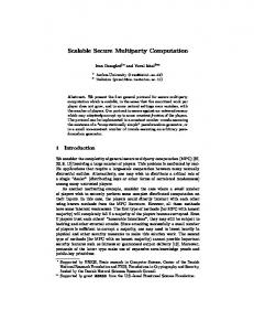 Scalable Secure Multiparty Computation - Semantic Scholar
