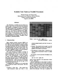 Scalable Unix Tools on Parallel Processors