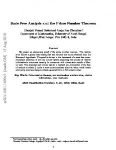 Scale Free Analysis and the Prime Number Theorem