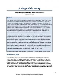 Scaling mobile money - SSRN