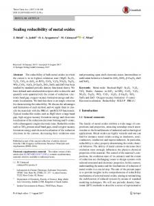 Scaling reducibility of metal oxides - Springer Link