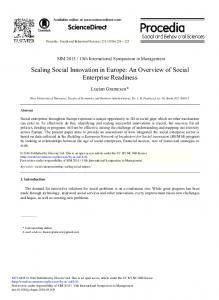 Scaling Social Innovation in Europe: An Overview of Social Enterprise ...