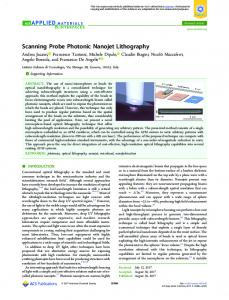 Scanning Probe Photonic Nanojet Lithography - ACS Publications