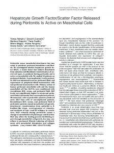 Scatter Factor Released during Peritonitis Is