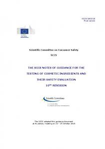 SCCS Notes of Guidance for the testing of cosmetic ingredients and