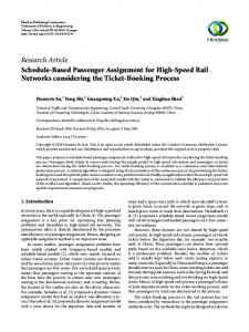Schedule-Based Passenger Assignment for High-Speed Rail ...