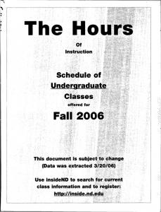 Schedule of Classes - Archives