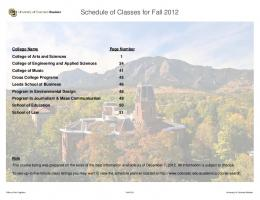 Schedule of Classes for Fall 2012 - University of Colorado Boulder