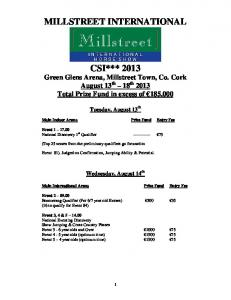 Schedule of Classes - Millstreet Horse Show