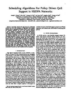 Scheduling Algorithms For Policy Driven QoS Support in ... - CiteSeerX