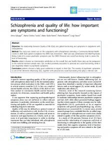 Schizophrenia and quality of life: how important are symptoms and ...