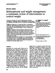 Schizophrenia and weight management - Wiley Online Library