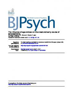 schizophrenia. The influence of age and sex on the ...