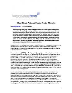 School Climate Policy and Practice Trends - National School Climate ...