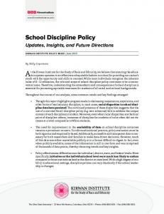 School Discipline Policy - Kirwan Institute - The Ohio State University