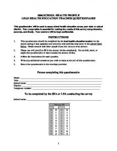 School Health Profiles -- Questionnaire (Lead Health Education ...
