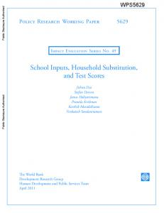 School Inputs, Household Substitution, and Test Scores