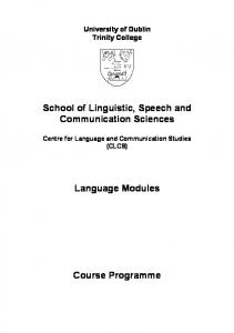 School of Linguistic, Speech and Communication Sciences ...