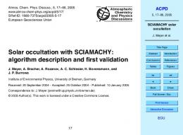 SCIAMACHY solar occultation - CiteSeerX