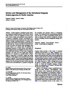 Science and Management of the Introduced Seagrass Zostera ...
