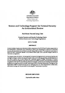 Science and Technology Support for National Security - Department of ...