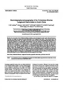 SCIENCE CHINA Biostratigraphy and geography of the Ordovician ...
