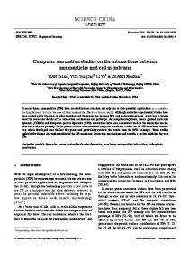 SCIENCE CHINA Computer simulation studies on the ... - Springer Link