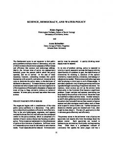 Science, Democracy, and Water Policy - Core