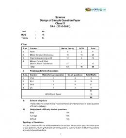 Science Design of Sample Question Paper Class IX