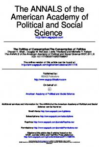 Science Political and Social American Academy of The ANNALS of the