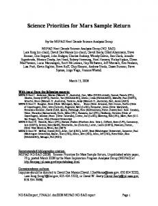 Science Priorities for Mars Sample Return - mepag - Nasa