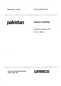 Science teaching: Pakistan - (mission) September-November 1968 ...