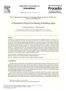 ScienceDirect A Negotiation Protocol for Meeting